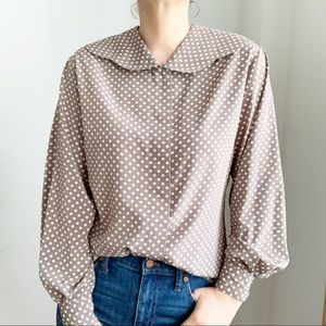 Vtg Polka Dots Round Collar Taupe Silky Blouse M